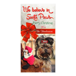Believe in Santa Paws Photo Customized Photo Card