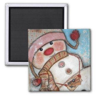 Believe in Snowmen Square Magnet