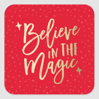 Believe In The Magic | Holiday Stickers in Red