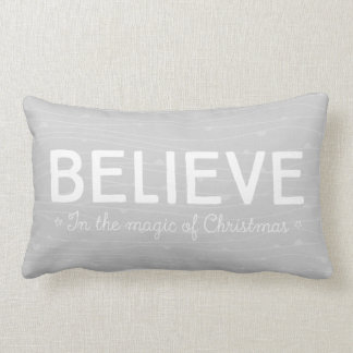 Believe in the magic of Christmas • grey pattern Lumbar Cushion
