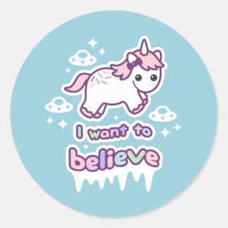 Believe in Unicorns and Aliens Classic Round Sticker