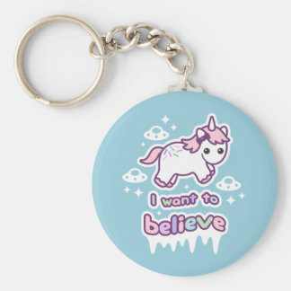 Believe in Unicorns and Aliens Key Ring