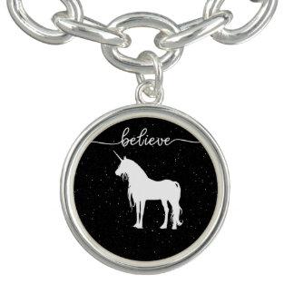 Believe in Unicorns Design Starry Sky Background