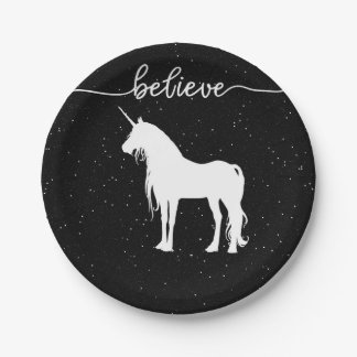 Believe in Unicorns Design Starry Sky Background 7 Inch Paper Plate