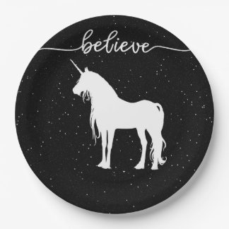 Believe in Unicorns Design Starry Sky Background 9 Inch Paper Plate