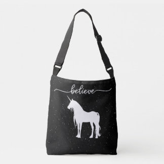 Believe in Unicorns Design Starry Sky Background Crossbody Bag