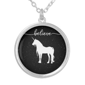 Believe in Unicorns Design Starry Sky Background Silver Plated Necklace