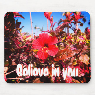 Believe in You and Red Hibiscus Mouse Pad