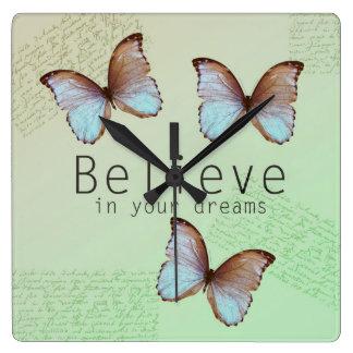 Believe in Your Dreams Butterflies Clocks