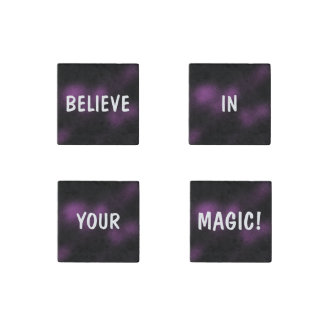 BELIEVE IN YOUR MAGIC Inspiring Dark Purple Stone Magnet