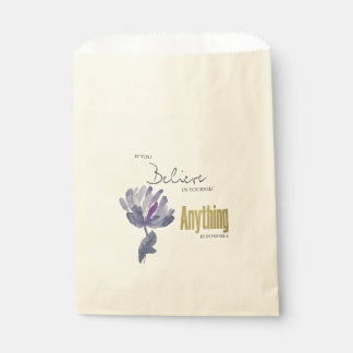 BELIEVE IN YOURSELF, ANYTHING POSSIBLE BLUE FLORAL FAVOUR BAG