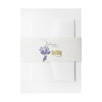 BELIEVE IN YOURSELF, ANYTHING POSSIBLE BLUE FLORAL INVITATION BELLY BAND