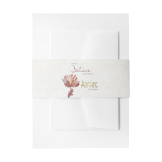 BELIEVE IN YOURSELF, ANYTHING POSSIBLE RUST FLORAL INVITATION BELLY BAND