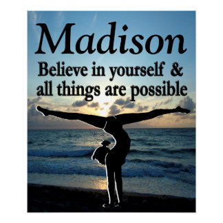 BELIEVE IN YOURSELF CUSTOM GYMNAST GIRL POSTER
