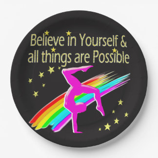 BELIEVE IN YOURSELF GYMNASTICS DESIGN 9 INCH PAPER PLATE