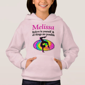 BELIEVE IN YOURSELF PERSONALIZED GYMNASTICS HOODIE