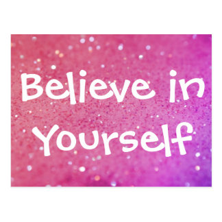 Believe in Yourself Pink Sparkly Bokeh Postcard