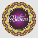 Believe : Inspire : Purple Yellow Mandala Circle Round Sticker