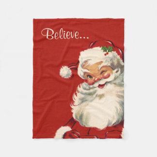 """Believe"" Jolly Vintage Santa Fleece Blanket"