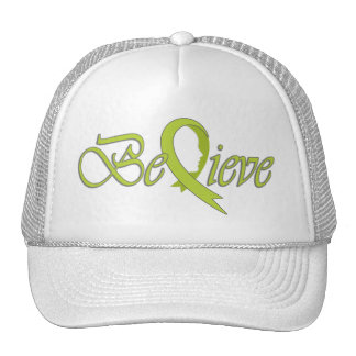 Believe Lime Ribbon-Trucker Trucker Hat
