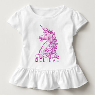 Believe Magical Horse Pink Unicorn Add Name Toddler T-Shirt