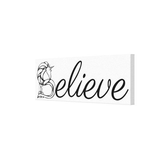 Believe Magical Horse Unicorn Black and White Canvas Print