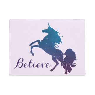 Believe | Magical Purple and Blue Rearing Unicorn Doormat