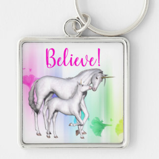 Believe | Magical Rainbow Unicorn Mother and Baby Key Ring