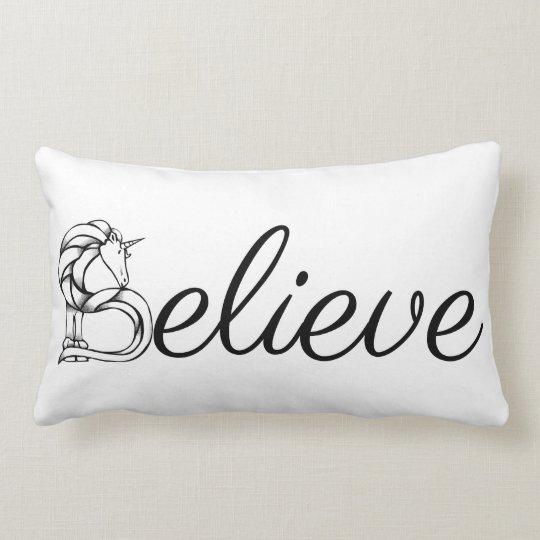 Believe Magical Unicorn Black and White Typography Lumbar Cushion