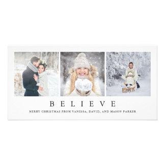 Believe | Modern Minimalist Christmas Three Photos Card