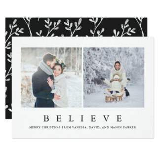 Believe | Modern Minimalist Christmas Two Photo Card