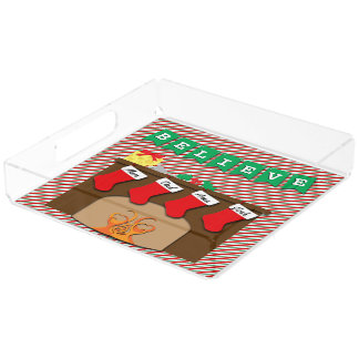 Believe Night Before Christmas • 4 Stockings Acrylic Tray
