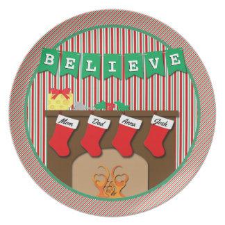 Believe • Night Before Christmas • 4 Stockings Plate