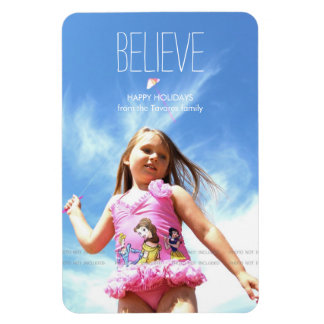 Believe Photo Christmas Holiday Greetings Rectangular Photo Magnet