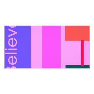 Believe Pink Customized Photo Card