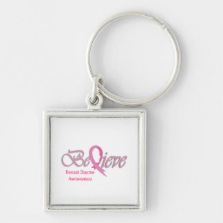 """""""Believe"""" Pink Ribbon Collection 2 Silver-Colored Square Key Ring"""