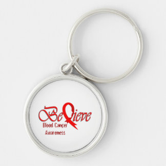 """""""Believe"""" Red Ribbon Collection Silver-Colored Round Key Ring"""