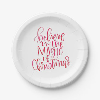 Believe Red Watercolor Hand Lettered Script Party Paper Plate