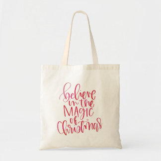 Believe Red Watercolor Hand Lettered Script Tote Bag
