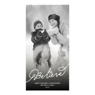 Believe Star Christmas Photo Holiday Greetings Customized Photo Card