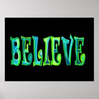Believe Stencilled Pastel Poster