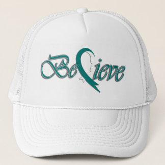 Believe (teal and white-trucker) trucker hat