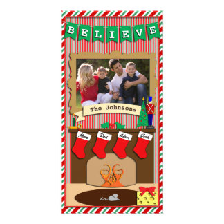 Believe • Twas Night Before Christmas • 4 Stocking Personalised Photo Card