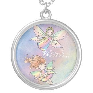 """Believe"" Two Little Fairies Necklace"