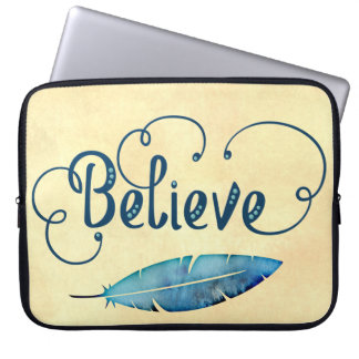 Believe Typography Feather Watercolor Teal  Blue Laptop Sleeve