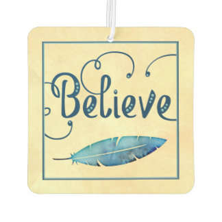 Believe Typography Watercolor Feather Blues Yellow Car Air Freshener