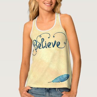 Believe Typography Watercolor Feather Blues Yellow Singlet