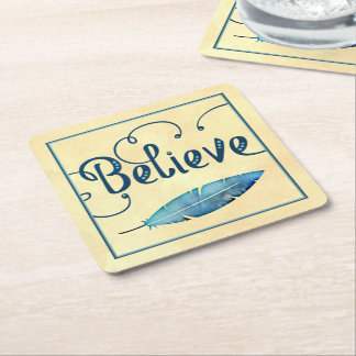Believe Typography Watercolor Feather Blues Yellow Square Paper Coaster