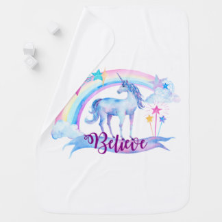 Believe / Unicorn Baby Girl's Nursery Baby Blanket