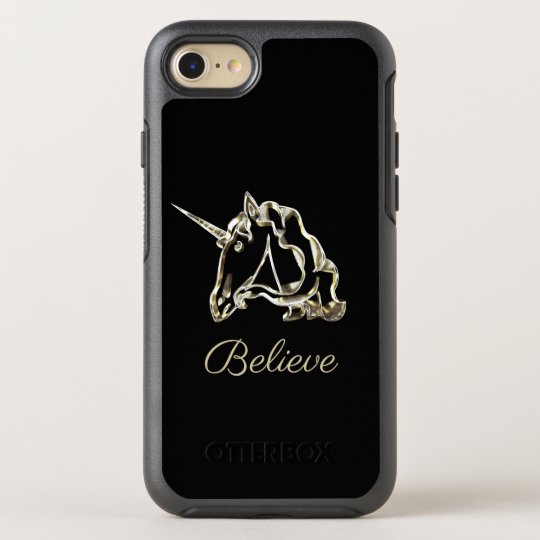 Believe Unicorn Monogram A Black and Gold Elegant OtterBox Symmetry iPhone 8/7 Case
